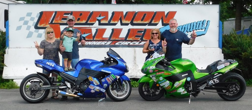 Bob Bradley (right) took his bike to the winner's circle on Saturday in the BIV Street Class. Duke Huyck (left) was runner-up.