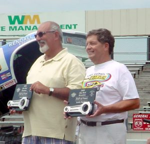 Arnie Karp (left) and Keith Hughes were inducted into the New England Hot Rod Hall of Fame in 2008